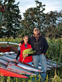 Molly Pearmine McCargar and brother Ernie Pearmine during corn harvest.