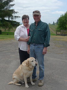 "Nancy and Sam Sweeney and faithful friend ""Dallas""."